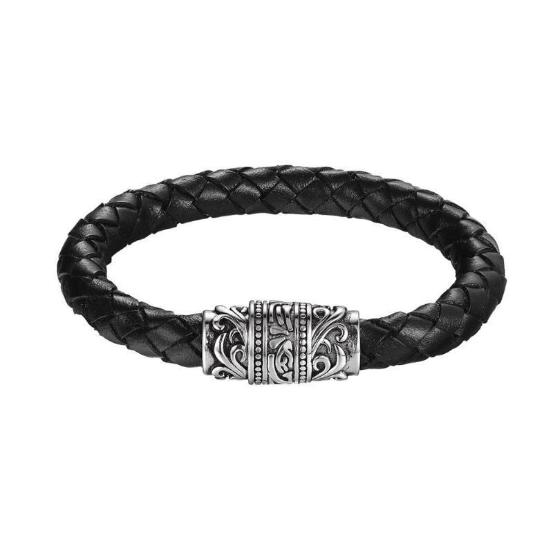 Новый ретро мужской кожаный браслетный браслет из нержавеющей стали мужская кожаная магнитная пряжка браслет