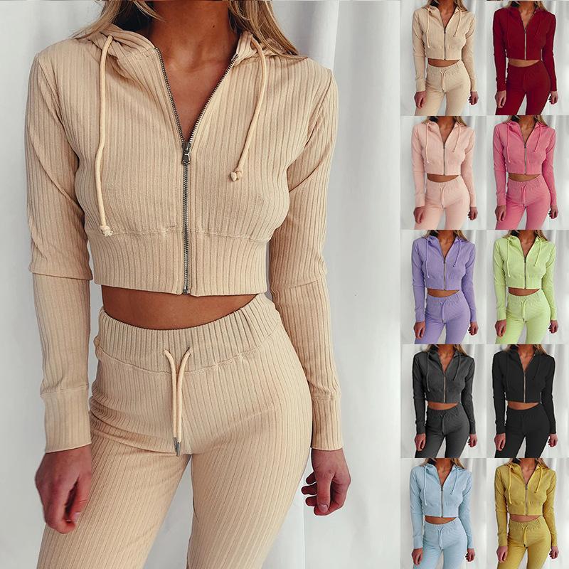 Женщины двух частей нарядов Осень 2020 дизайнер сплошной цвет высокой талии Лучшие новые дамы с капюшоном с капюшоном с длинным рукавом с капюшоном Slim Support Sportwear Couscsuit