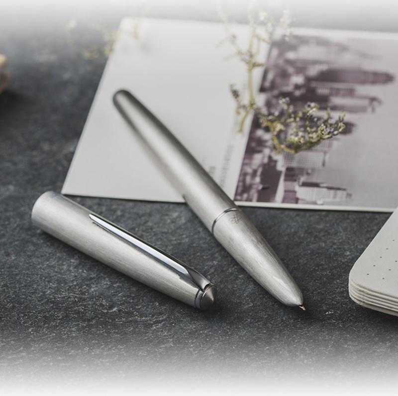 جديد بطل 100 14 كيلو الذهب ماتي الفضة الصلب نافورة القلم مع محول الكلاسيكية أصيلة الجودة المعلقة الكتابة هدية القلم مجموعة T200115
