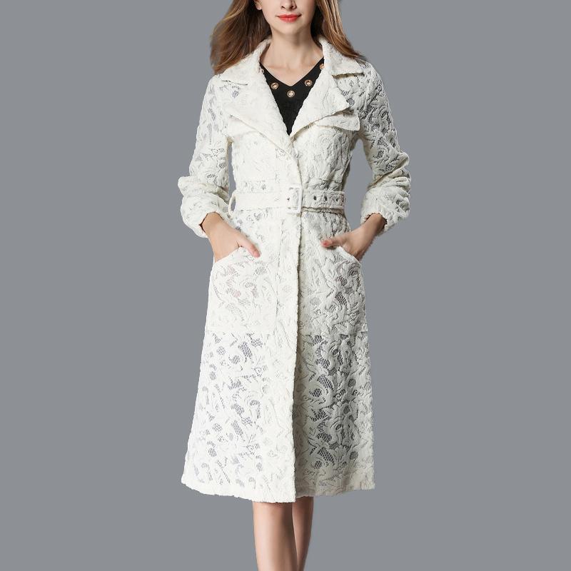 automne et l'hiver nouvelle dentelle manteau revers veste à manches longues tempérament européens et américains coupe-vent C1108