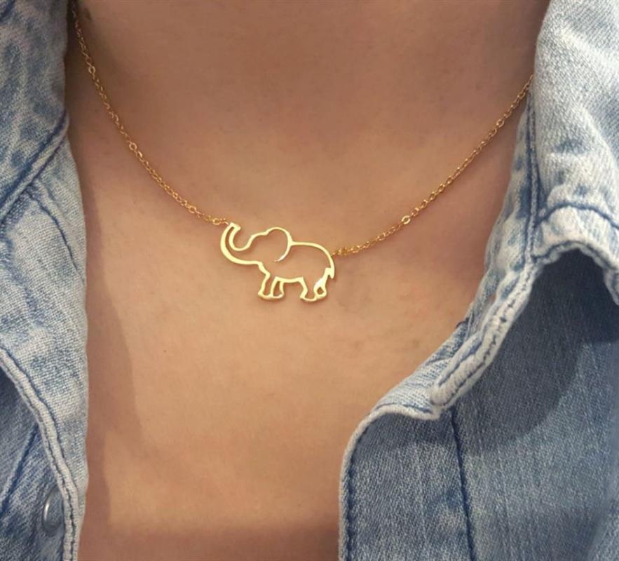 Cute Origami Elephant Pendant Necklace Women Animal Jewelry Stainless Steel Gold Chain Lucky Elephant Contour Choker Bijoux Femm