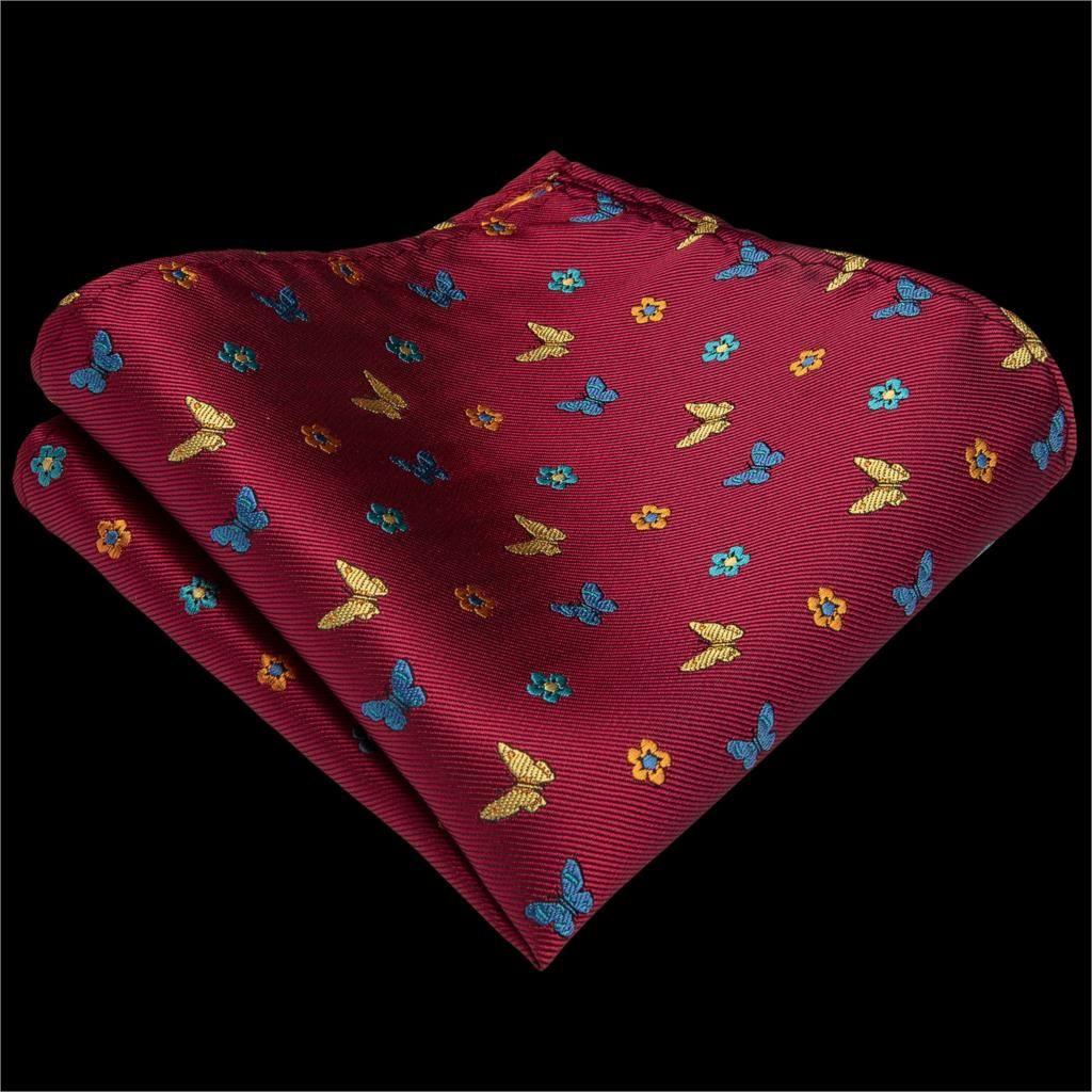 DiBanGu Luxury Red Animal Men Подарки заколка для галстука 100% Silk Ties Hanky Запонки Tie костюм Свадебный бизнес партии Tie Set MJ-7240