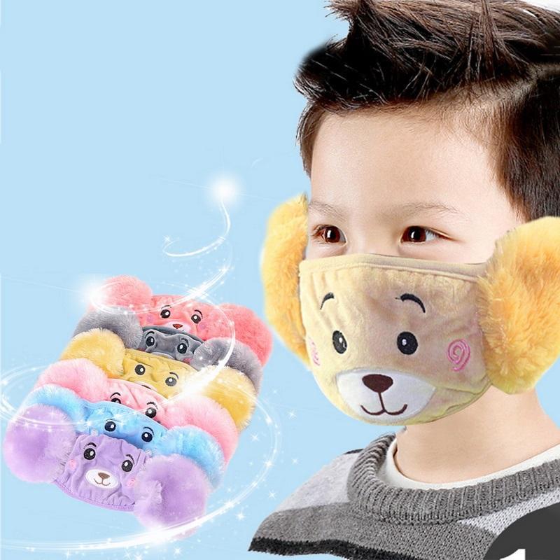 Çocuk Çocuklar Sevimli Karikatür Ayı 2 1 Ağız Maskesi Earmuff Rüzgar Geçirmez Toz Geçirmez Nefes Sıcak Fa Koruma Kapağı Karikatür Kulak Maskesi