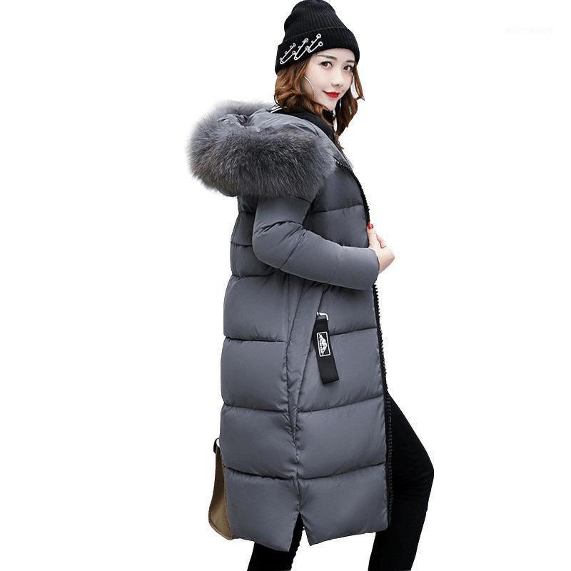 Женские Parkas 2021 зимний стиль корейский стиль хлопчатобумажная одежда толстая плюсовая хлопковая куртка длиннее над коленом