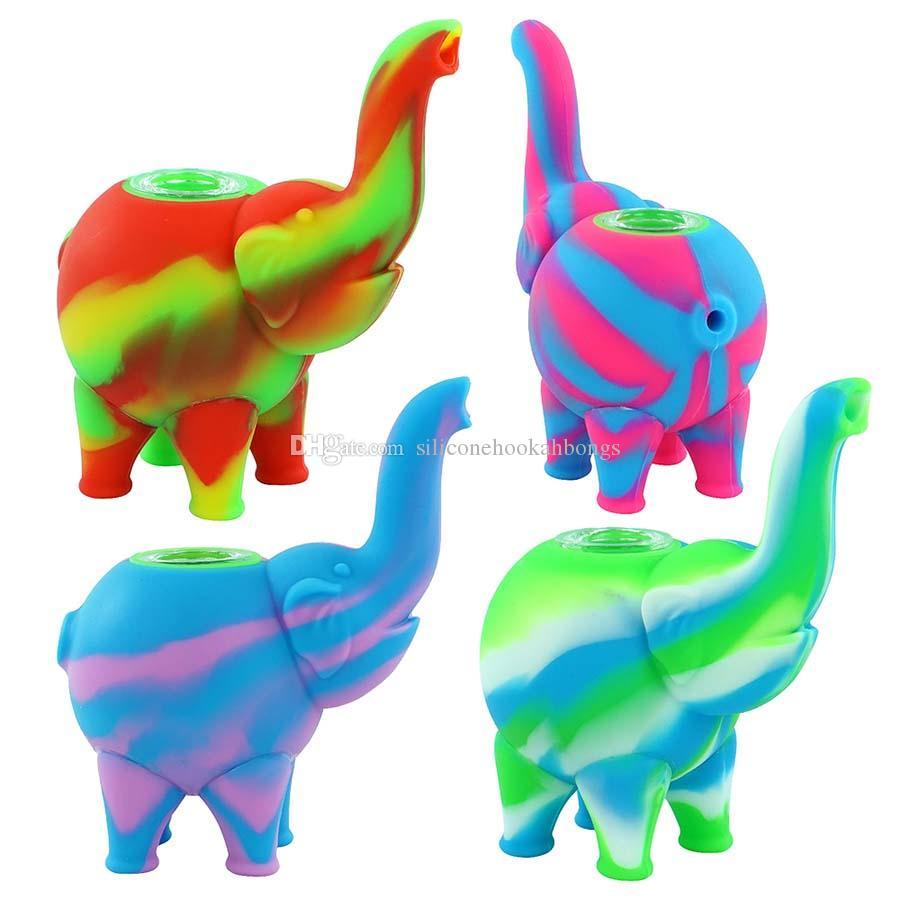 Elefante Padrão Mini Bubbler Tubulações De Água Silicone Rigs De Petróleo Bong Hookahs Glass Glass Bowl Dab Múltipla cor