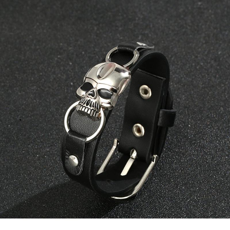 Junwei Fashion Skeleton Skull Bracelet Leather Snap Button Wrap Bracelets Bangles For Man Women Men Vintage Punk jlljCW