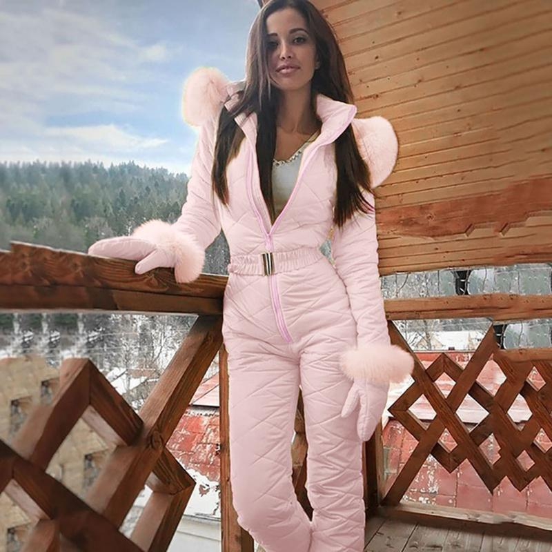 여성 패션 원피스 스키 Jumpsuit 캐주얼 두꺼운 겨울 따뜻한 스노우 보드 스키 키잇 야외 스포츠 스키 바지 세트 지퍼 정장 # G4