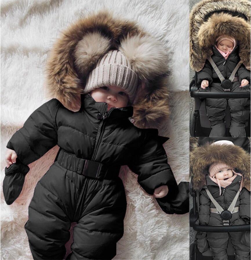 الشتاء سترة قميص الرضع طفل رضيع فتاة الملابس رومبير سترة مقنع بذلة الدافئة سميكة معطف الزي