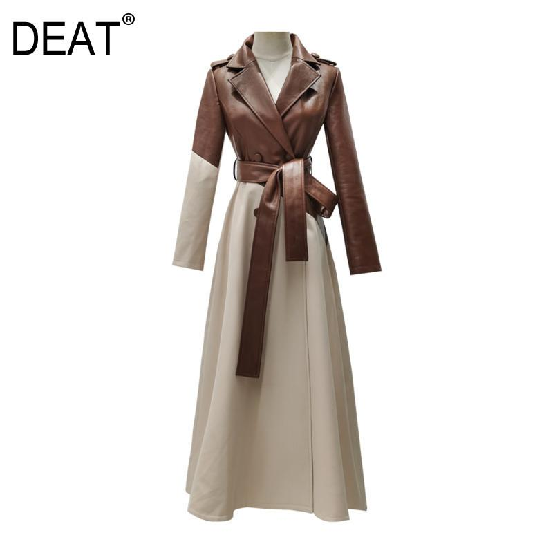 [DEAT] New Autumn Winter Fashion PU Leather Trench Coat Slim With Belt Elegant Women Clothing Hit Color Long Length HT190 201027