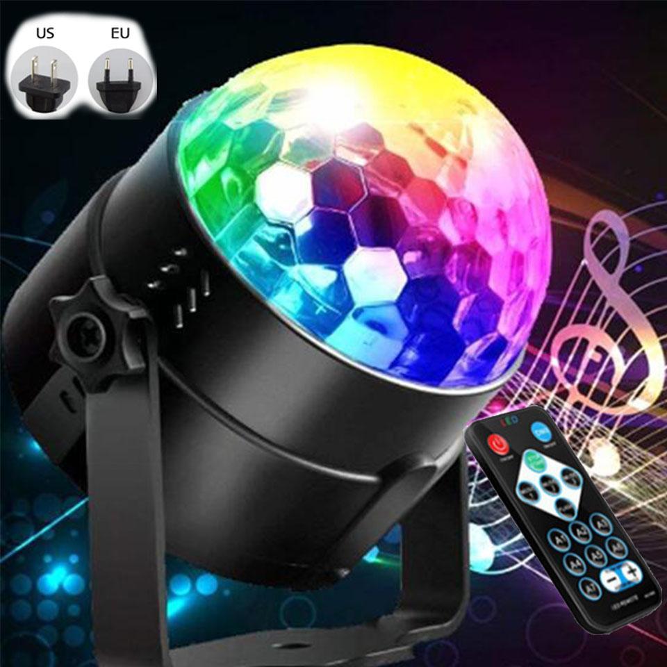 الصوت المنشط الملونة ديسكو الكرة LED أضواء المسرح 3W RGB ليزر العارض مصباح الضوء حفلة عيد الميلاد لوازم الاطفال هدايا
