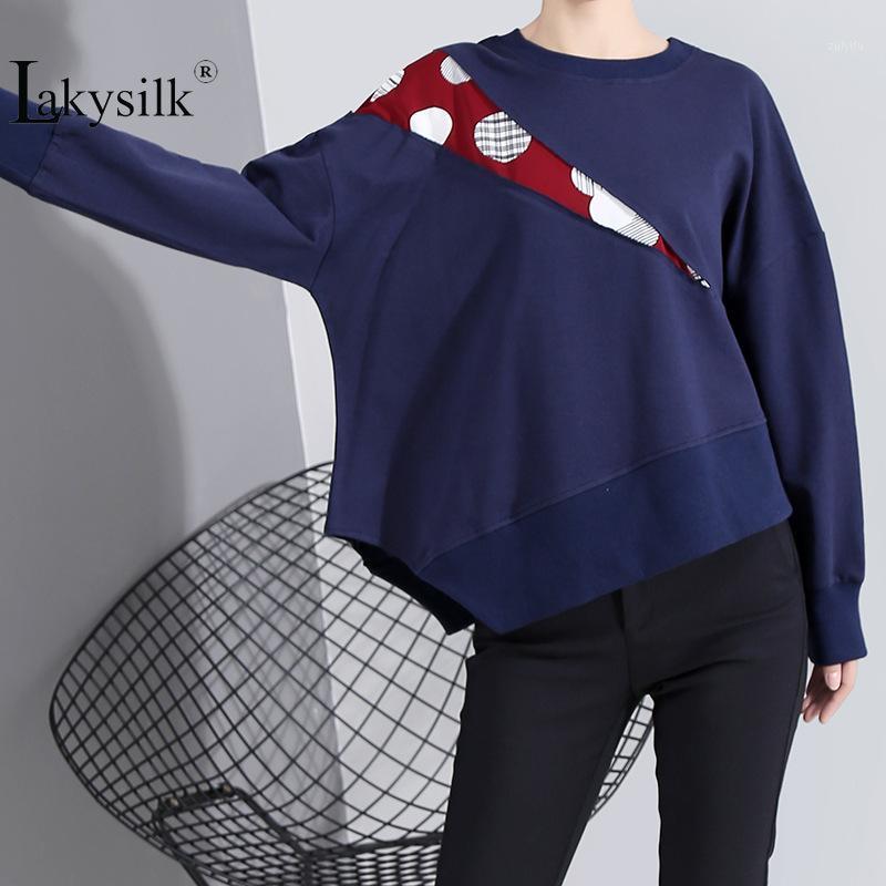 Sudaderas con capucha para mujer Sudaderas Ropa de diseñador 2020 Spring Pullovers O-cuello Algodón Casual suelto suelto Ropa irregular azul marino1