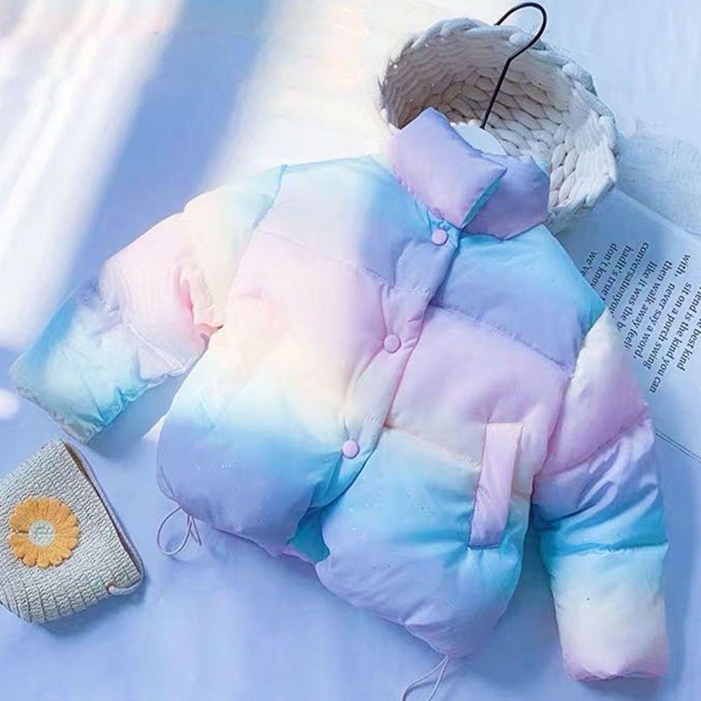 Jaqueta de inverno de outono de meninas 0-6 anos crianças idade para baixo e espessado arco-íris algodão acolchoado bebê