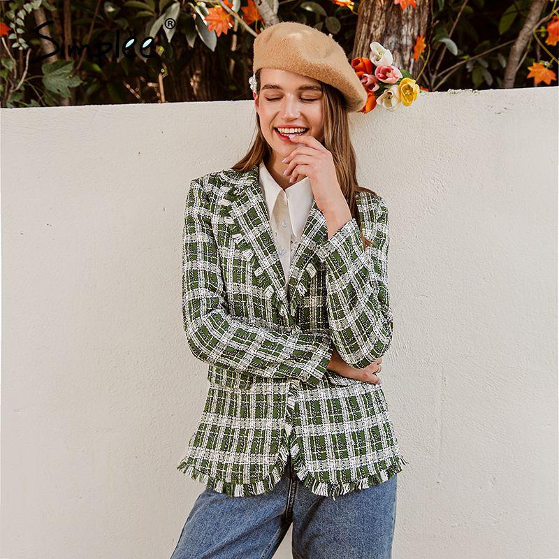 Simplee elegant women green plaid jacket coat Long sleeve casual autumn winter outwear female coat Streetwear ladies coat 201016