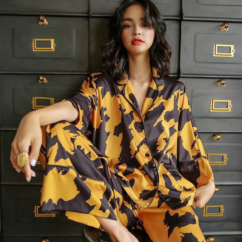 Francesi pigiama giallo d'epoca per casa abiti di seta delle donne di alta qualità vestito stabilito femminile autunno nightwear pigiameria manica lunga 201009