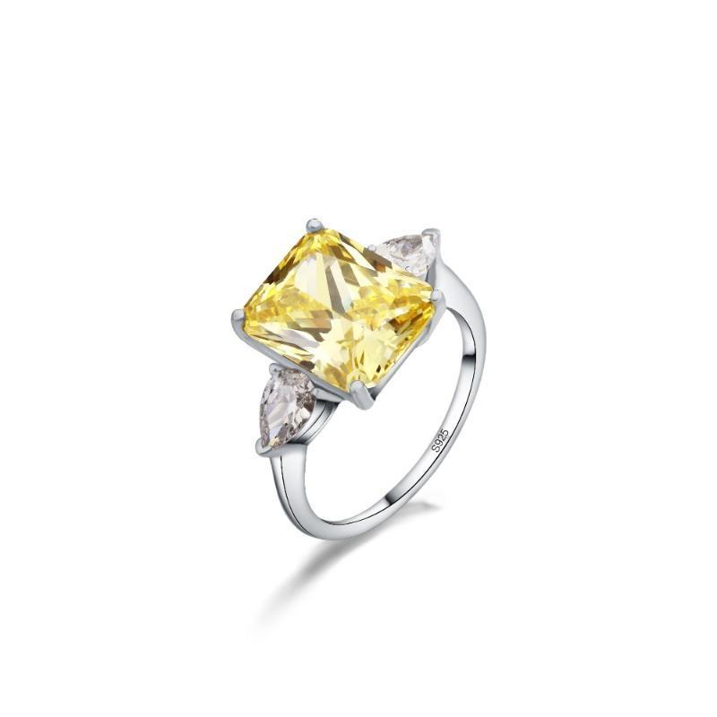 Solide Silber Verlobungs Trauringe Zirkonia Silber Farbe CZ Stein-Ring-Schmucksachen für Frauen Anel Großhandel