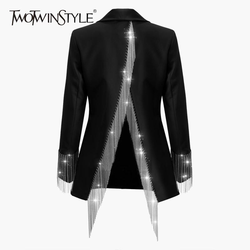 TWOTWINSTYLE Heavy Chains Tassel Coats Female Long Sleeve Single Button Backless Irregular Overcoat Women Spring 201017