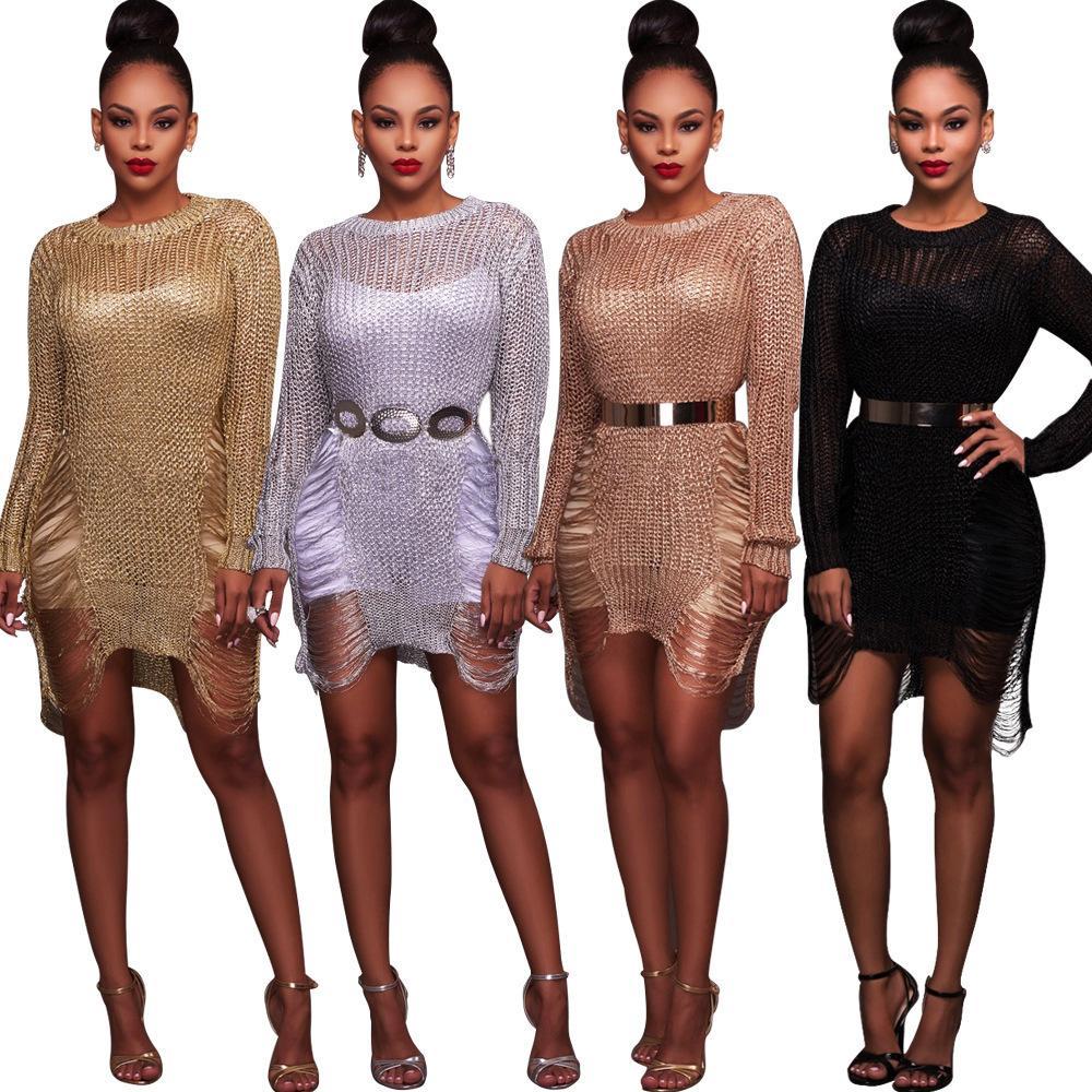 2020 Женщины Мода Одежда Сексуальная Женская Золотая Полая шерстяная Юбка Пляж Свитер Блузка Юбка Новый список