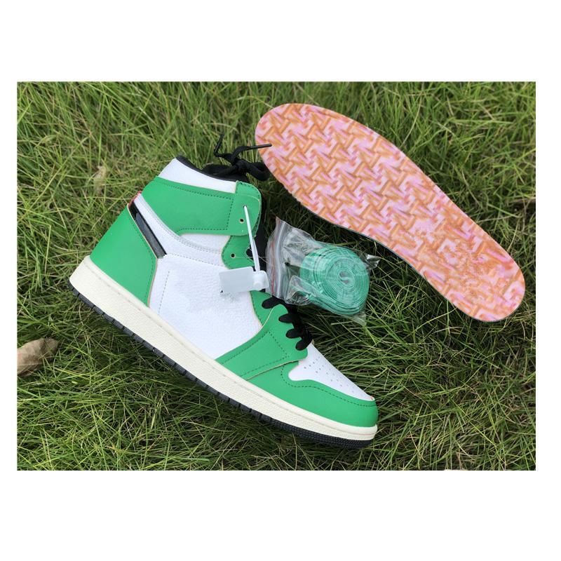 En Kaliteli Jumpman 1 OG Yüksek Şanslı Yeşil Basketbol Ayakkabı Erkek Kadın DB4612-300 Bio Hack Yansıtıcı Beyaz Kraliyet Chicago Toe Spor Sneakers