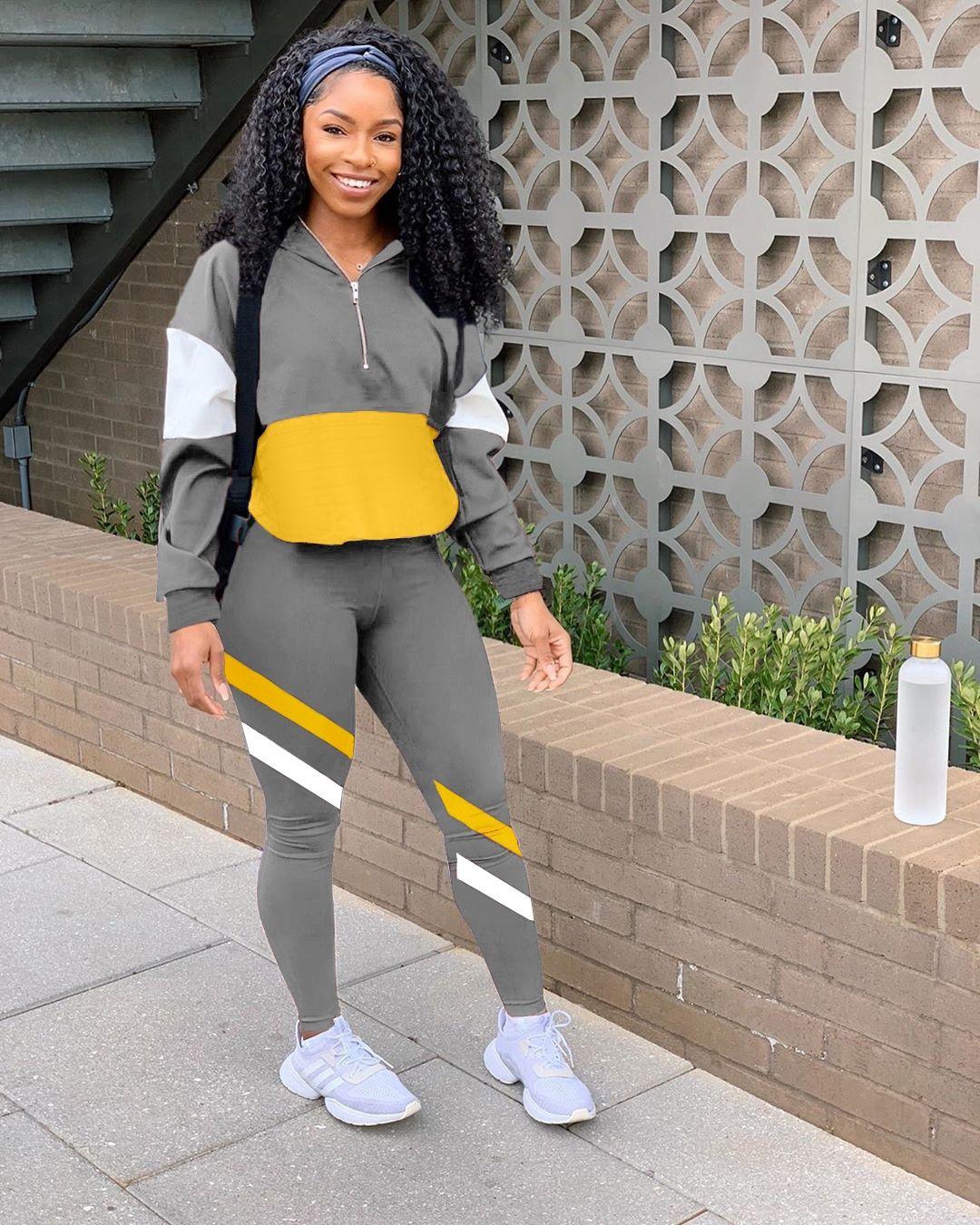 7Yu2 outfits panelled contrast Tracksuit 2 pcs Set Long Sleeve leggings tops+pants crop Sportswear Autumn winter Women fashion jacket pants