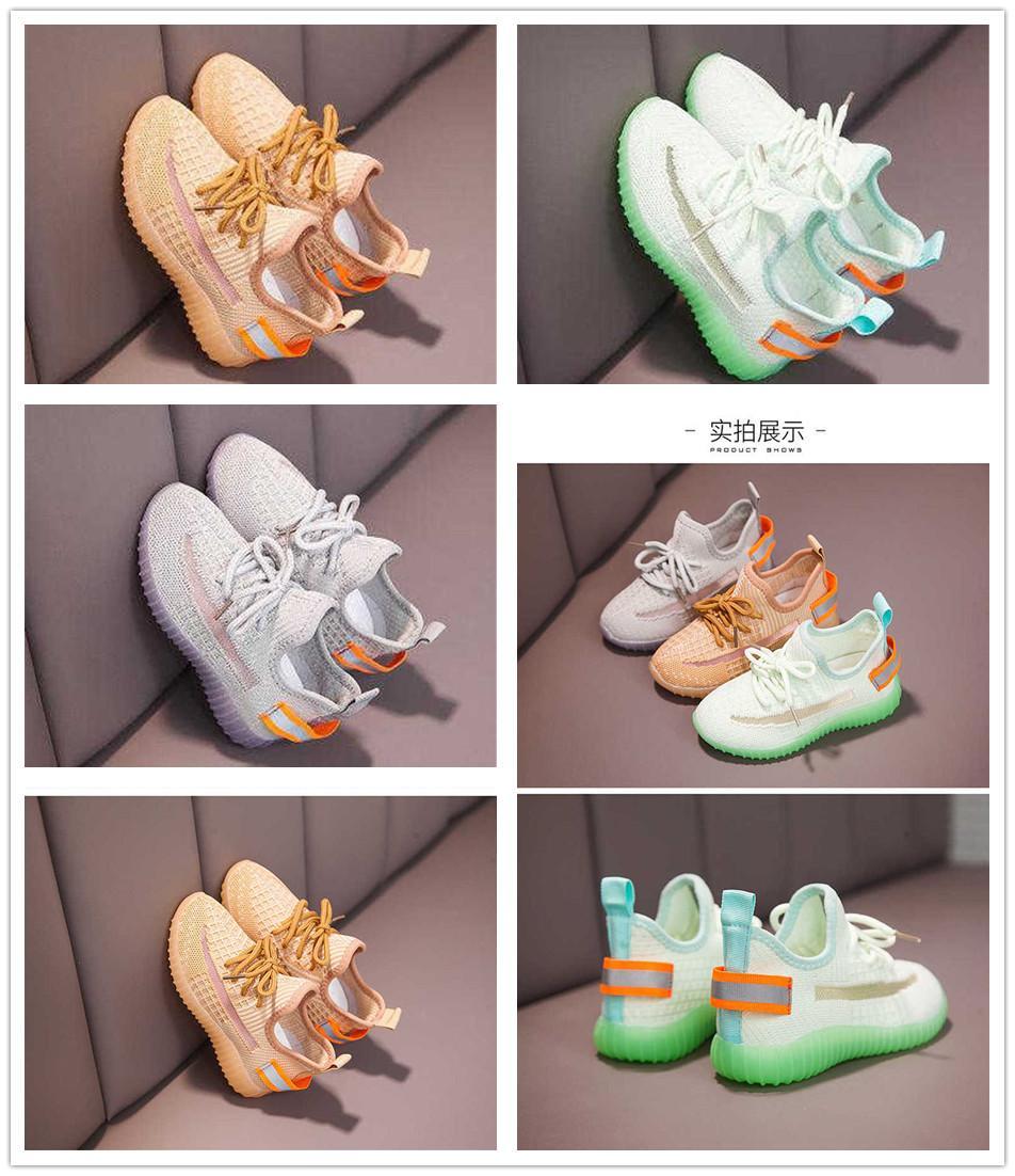 Las zapatillas de deporte para niños para la muchacha llevó las zapatillas de deporte con los niños Moda con luz malla de impresión ocasional de los niños Calzado deportivo