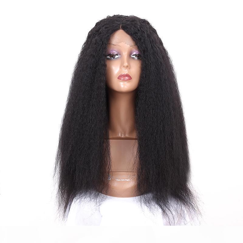 Peluca de fibra resistente al calor de la peluca de encaje recto sintética rizada de la peluca larga larga italiana yaki pelucas de encaje sintético recto para mujeres negras