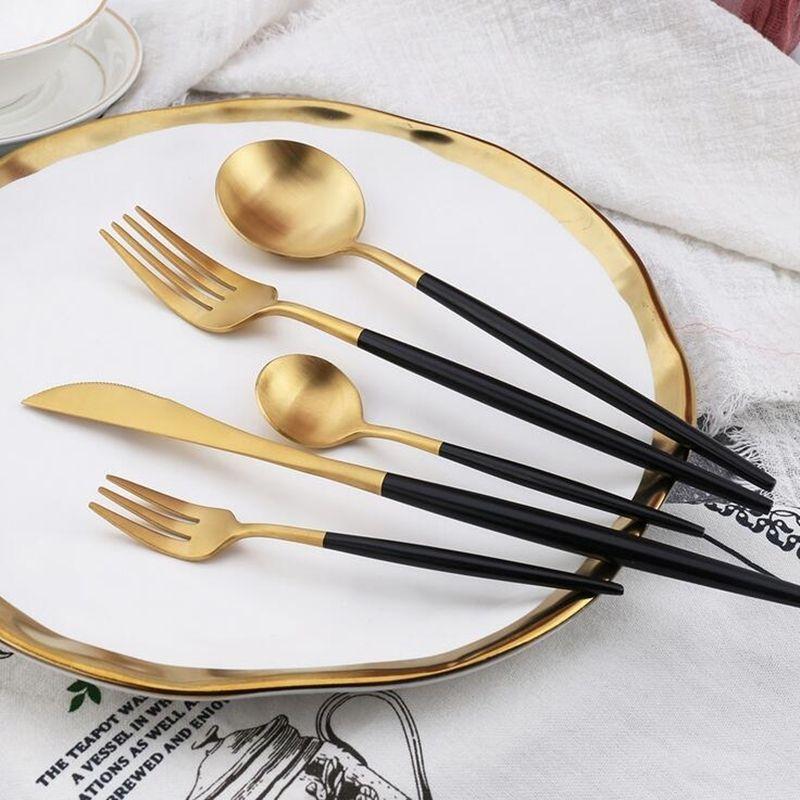 Kubac Hommi 30 stücke Black Gold Besteck Set Weiß Matte Geschirr Set Schwarz Geschirr Für 6 Personen Drop Shipping 201128