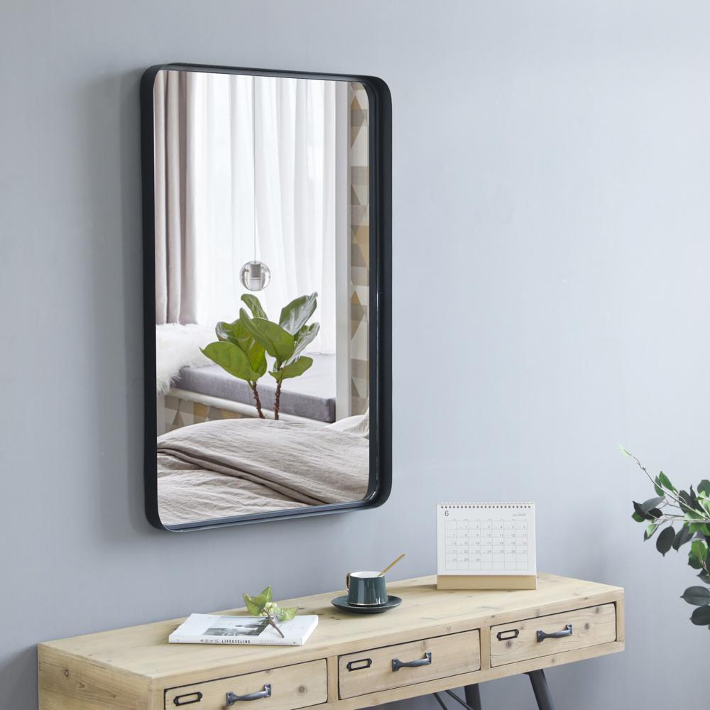 35,8 дюйма крытый кованый железо настенное плоское зеркало прямоугольная тонкая рама спальни ванной комната входное зеркало зеркало черное / золото