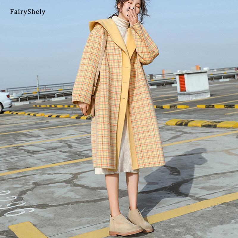 Fairyshely Moda coreana elegante abrigo de lana 2021 Mujeres Otoño Invierno con capucha Sección femenina Abrigo Oficina Traid Button Jacket