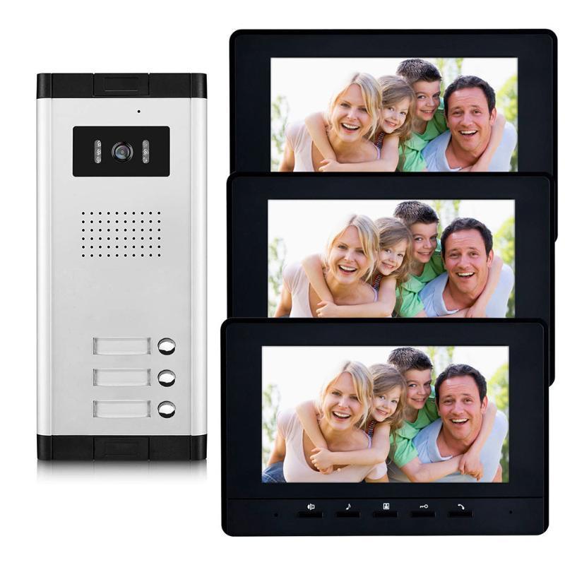 2 bis 4 Einheiten Apartment Video Intercom System 7-Zoll-Monitor Video-Türsprechanlage Sprechanlage Wired Startseite Türklingel-Kit