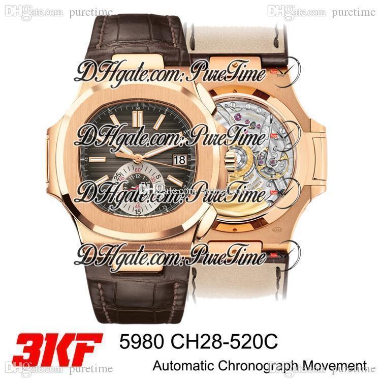 3KF 5980 CH28-520C Otomatik Chronograph Erkek İzle Pembe Altın Kahverengi Doku Dial Çubuk Marker Kahverengi Deri İyi Sürümü Puretime PTPP E5