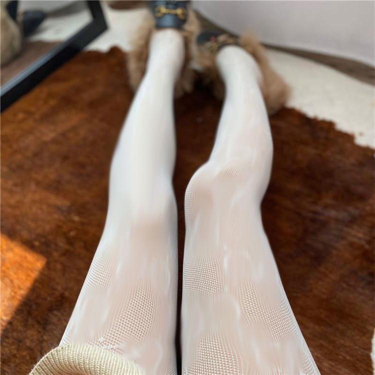 Lleve de lujo Mallas de seda Mujeres Marca Pantimedia Diseñador Leggings Warmer Hosiery Transparent Girl Medias Largas Venta al Por Mayor