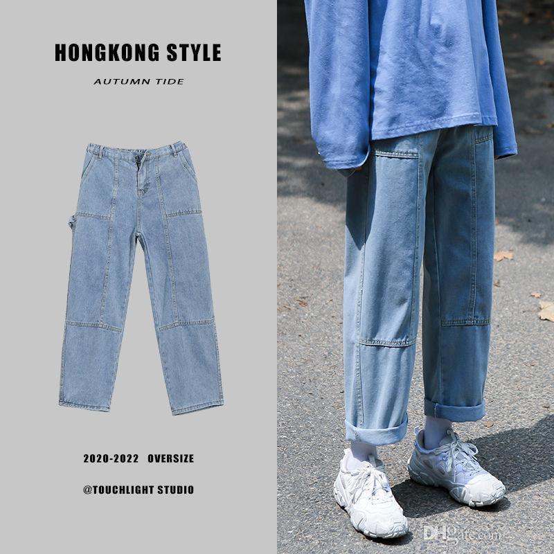 Autunno jeans diritti degli uomini casuali di modo di Retro Blue Jeans Pantaloni Uomo Selvaggio Streetwear allentati di Hip-hop Denim Pantaloni Mens S-3XL