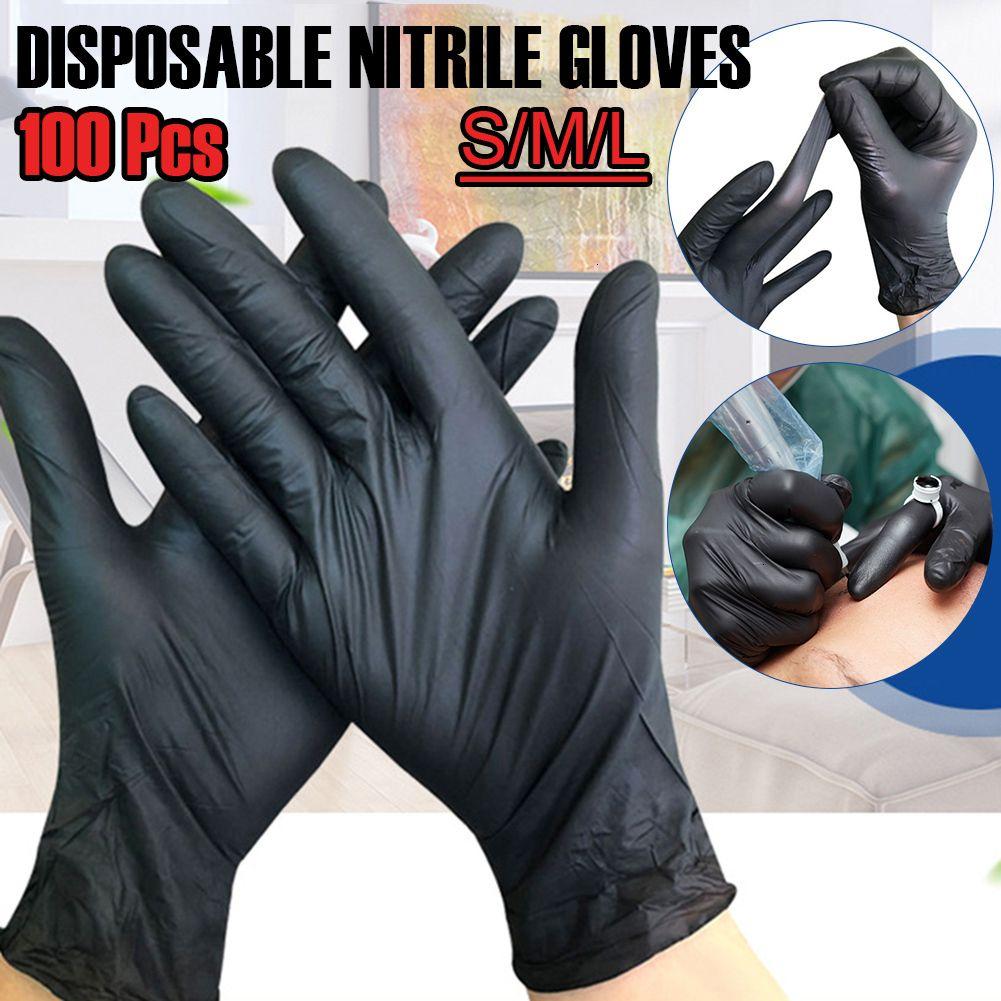 Nuevos guantes 100 unids Lavate de látex desechable universal / de cocina / de trabajo / de goma / jardín negro para la mano izquierda y derecha Y20042