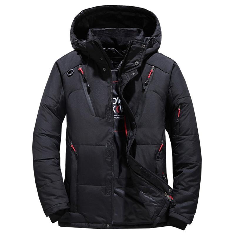 Casaco dos homens de inverno morno e espesso caber aquecendo casaco com zíper com zíper pode ser lavado à mão sem rugas para baixo