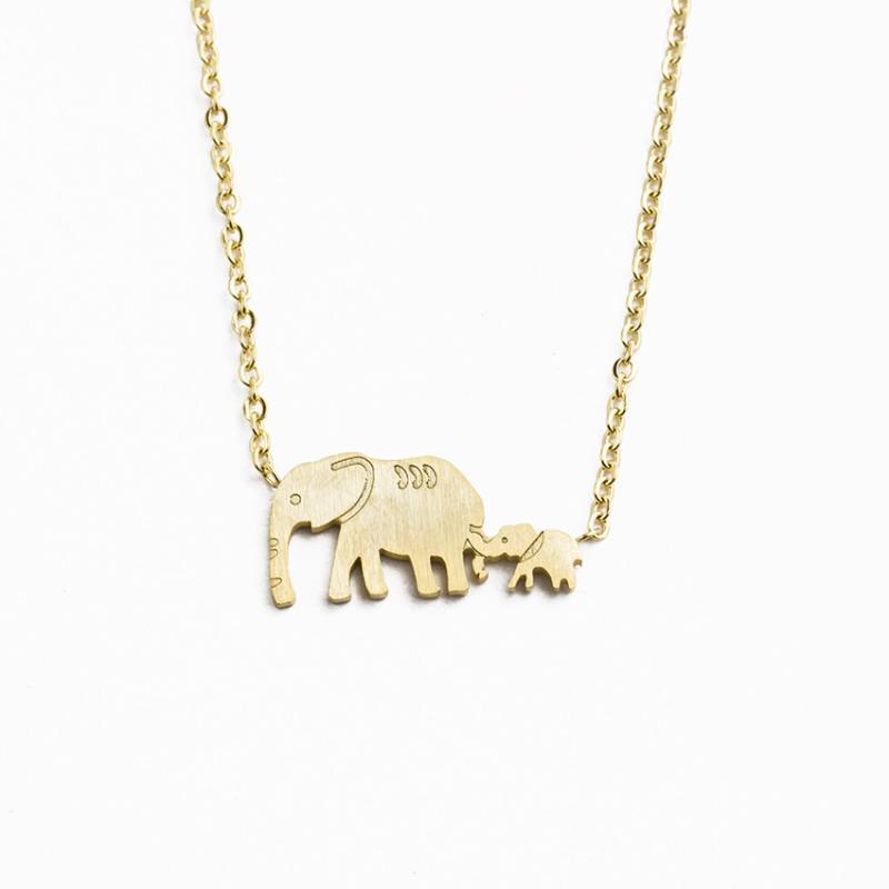 Bonne chance Double Elephant Colliers Chaîne en or en acier inoxydable animal Père Mère Bébé éléphant Pendentif famille collier de bijoux