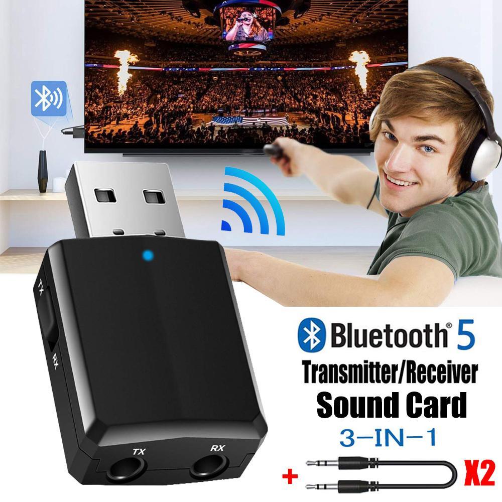 USB Bluetooth 5.0 الارسال استقبال 3 في 1 edr محول دونجل 3.5 ملليمتر aux ل تلفزيون الكمبيوتر سماعات المنزل ستيريو سيارة مركب الصوت