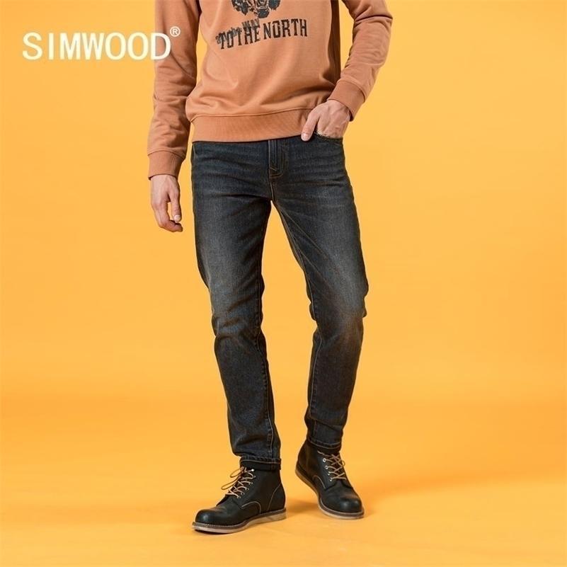 SIMWOOD Autumn Winter New Slim Tapered Retro Jeans Men Vintage Black Denim Trousers Brand Clothing SJ131045 201111