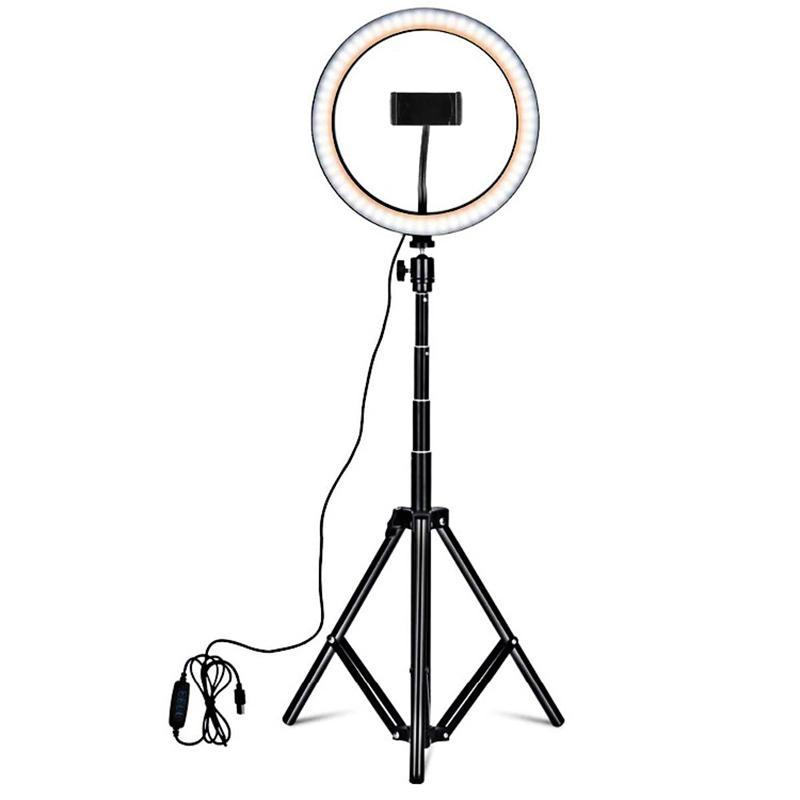 RGB Ring Light with 1.6M Tripod Holder and Bluetooth Remote 10 inch LED Lighting Mobile Phone Fill Light