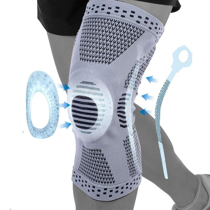 Compression Kneepad Sleeve Elastic wraps Sile Gel Printemps Printemps Brace Brace Support Joint Sile Sile Genou Protector Sport