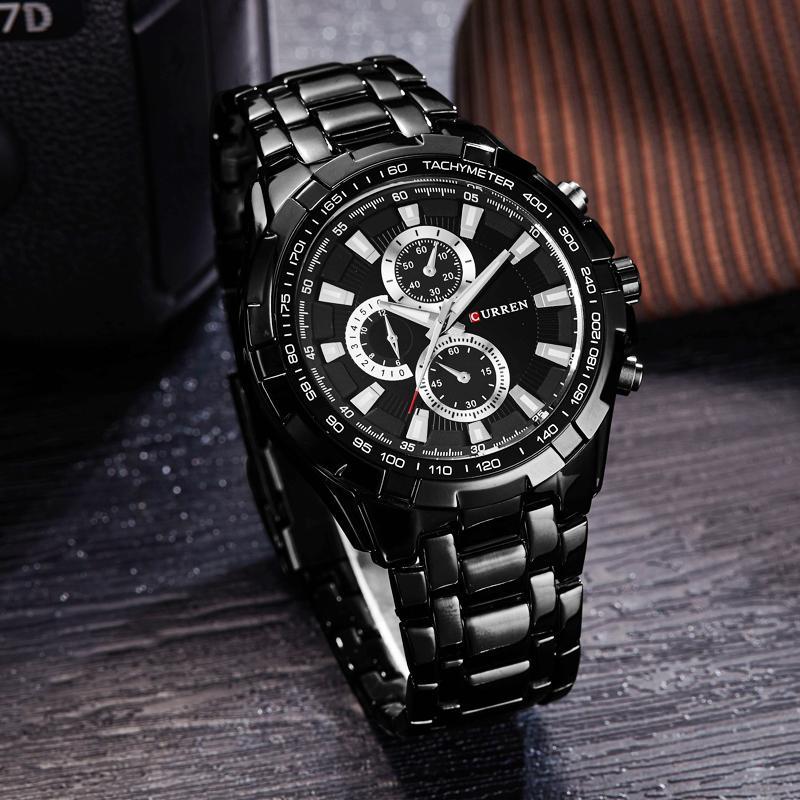 Currenuhren männer top marke luxus fashioncasual quarz männlich armbandues klassische analoge sport stahl band uhr relojes