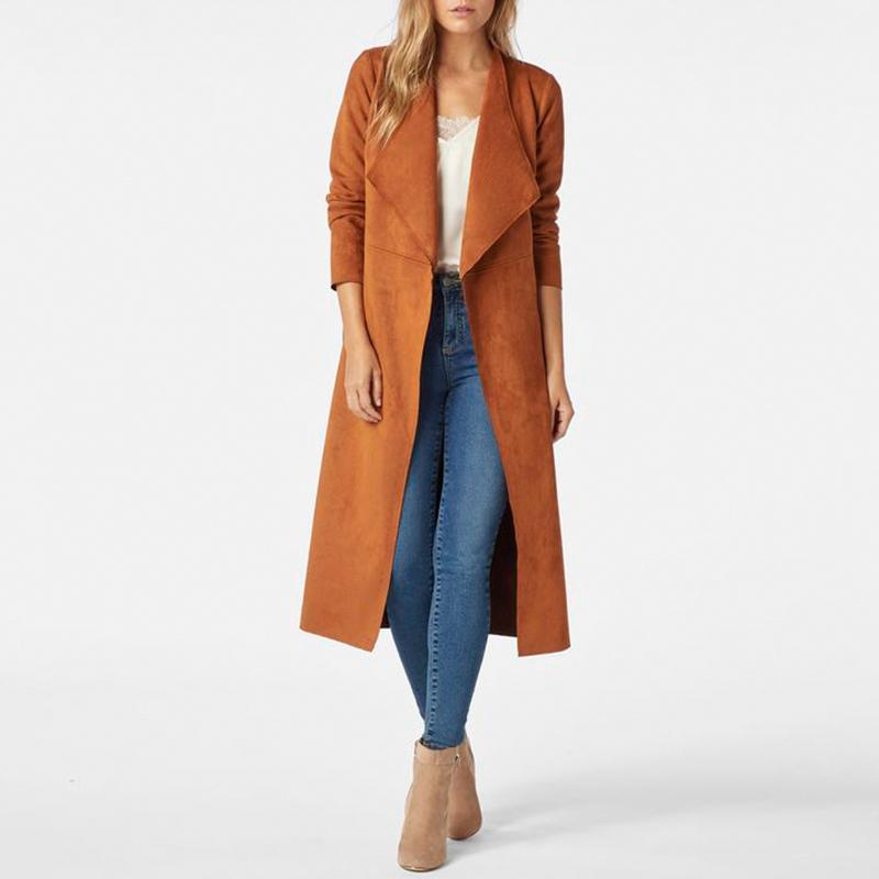 Casual Suede Leather Cardigan Trench For Women Winter Vintage Ladies Windbreaker Lapel Jackets Tie Waist Long Overcoat Clothing