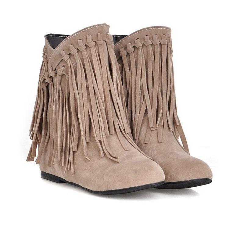 Quente LEOSOXS Mulheres botas de inverno Tassel Botas Moda Plus Size 43 Plano Female Shoes Deslizamento-na senhoras Fringe Casual Shoes