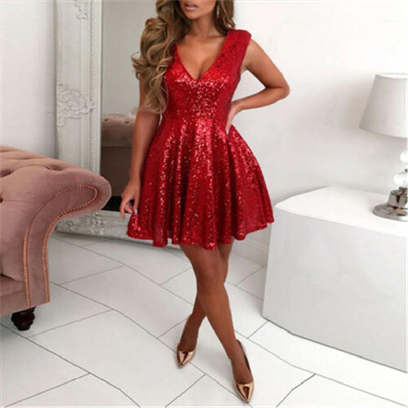 Mode V-Ausschnitt Skater Sleeveless Minikleid Kleidung Designer Weibliche Sexy Casual Evening Kurzer Rock Pailletten Rote Farbe Nacht Club Kleid