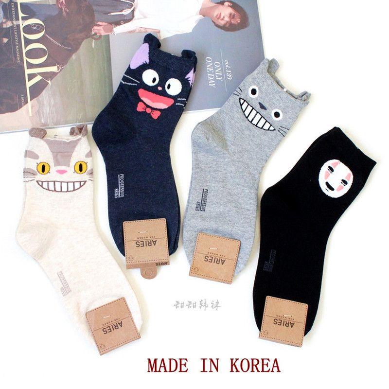 Karikatür Kedi Sevimli Çorap Kadınlar Hiçbir Yüz Adam Çorap Totoro Komik Moda Anime Bahar Sonbahar Ter Emme Gri Klasik Pamuk Çorap Q1219