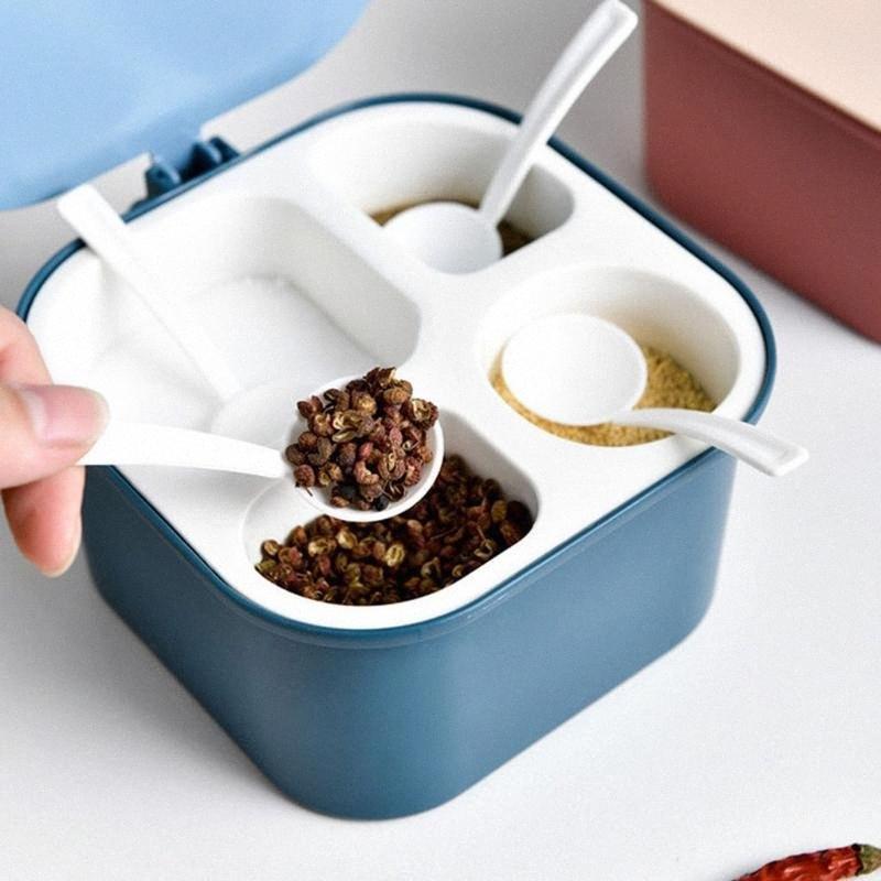 1pc Poches d'épices Quatre compartiment condiment multi-grille Spice Spice Spice Boîte Cuisine Rond Boîte de rangement JUL # 14 NLDN #