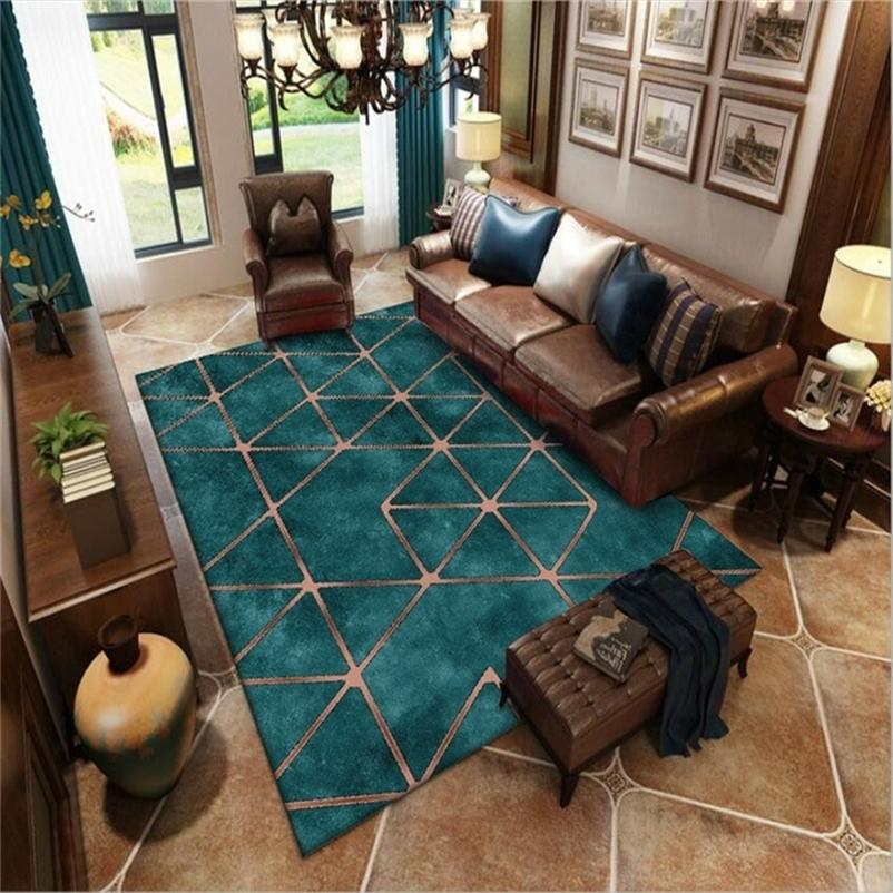 American Style Green Carpet Large Modern Living Room Rug Luxury Carpet Turquoise Color Golden Geometric Pattern Carpet Rugs 201225