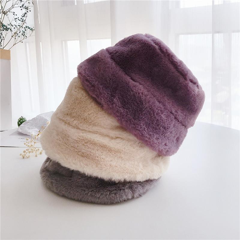 Niños Invierno Cubo Sombrero Faux Piel Cálido Pescador Cap Fuzzy Flush Wide Sombrero para Niñas, Niños