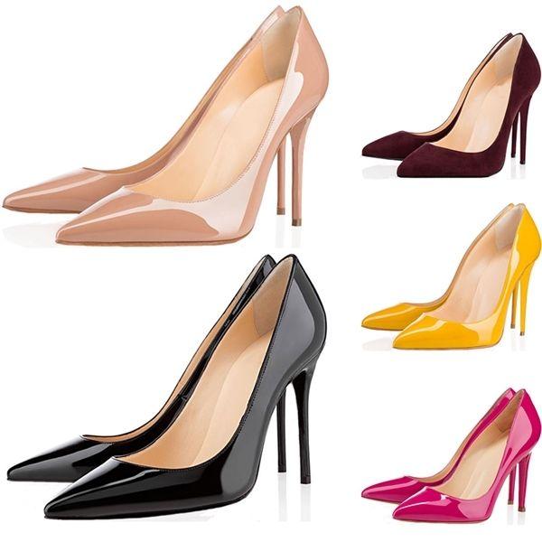Scarpe di alta qualità donne calde Red Bottoms Tacchi alti punta aguzza sexy rosso Sole 8 centimetri 10 centimetri 12 centimetri pompe Vieni scarpe da sacchetti di polvere da sposa