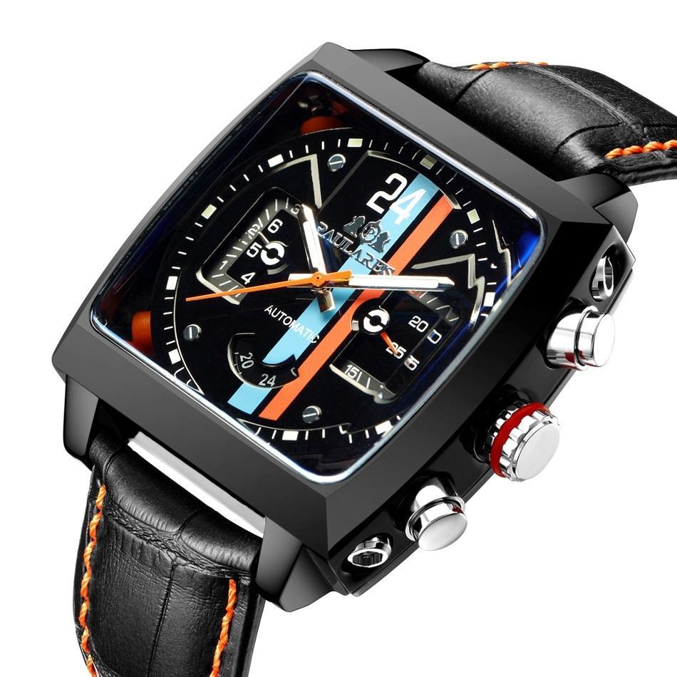 Лучшие бренд Monaco-24 роскошные часы мужские тонны автоматические часы из нержавеющей стали бизнес Heueres механический наручные часы