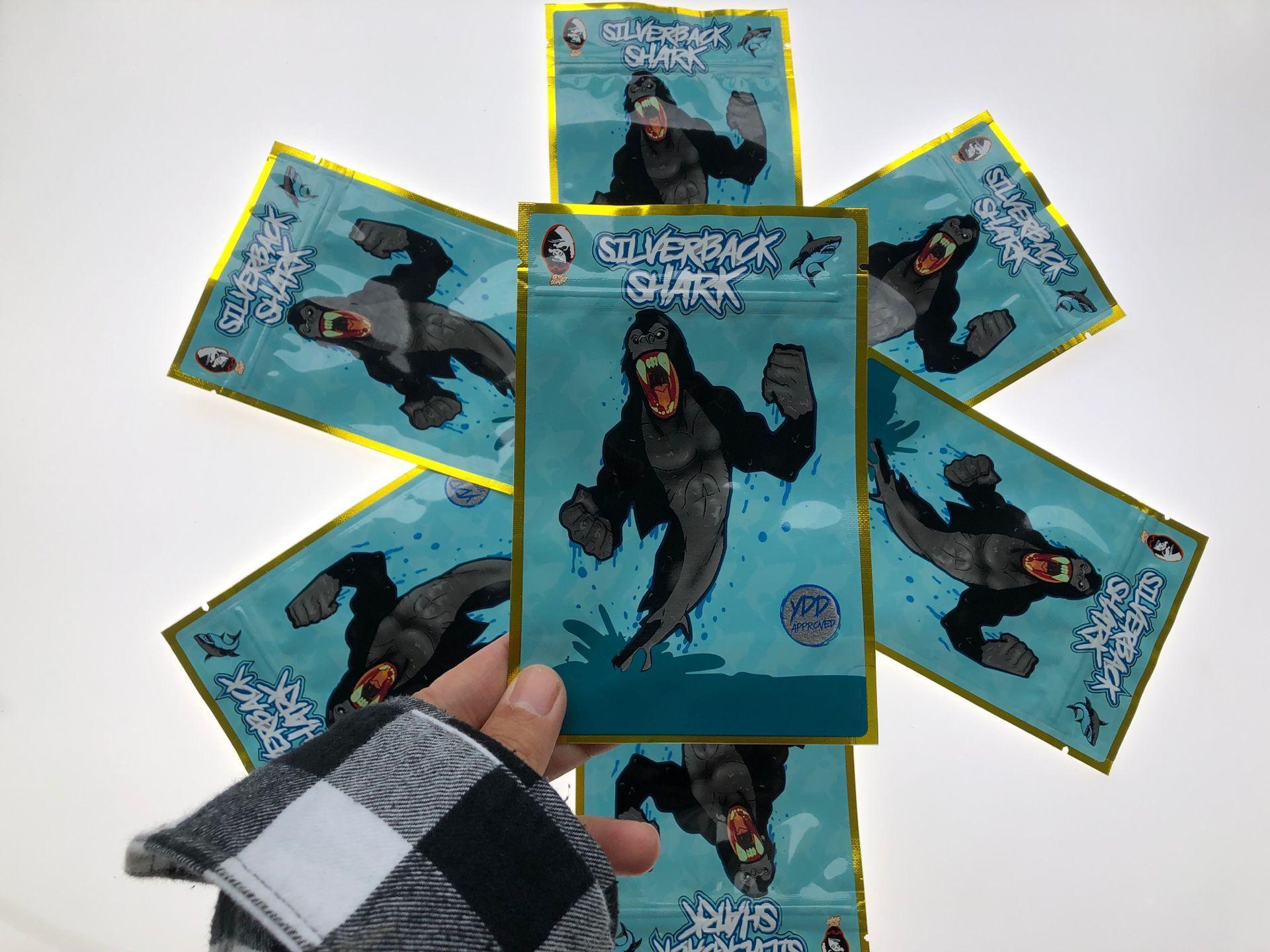 Piadas sacos invioláveis tubarão Padaria 3.5-7g prova Up locais Bags tubarão Silverback Bolsa Cheiro prova de Cheiro vazio Mylar bbyOXh bde_luck